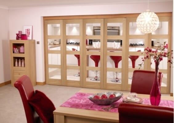 Prefinished Oak 4 Light 6 Door Roomfold (3 + 3 x 2'3