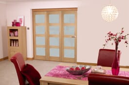 Oak 4L RoomFold Frosted Prefinished Doors Image