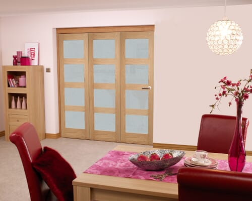 Oak 4l Shaker Roomfold - Frosted Prefinished Internal Bifold Doors