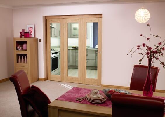 Oak Pattern 10 Roomfold - Clear Glass