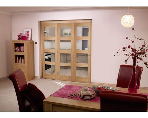 Oak 4l Shaker Roomfold - Unfinished Internal Bifold Doors