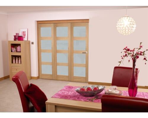 Oak 4l Shaker Roomfold - Frosted Unfinished Internal Bifold Doors