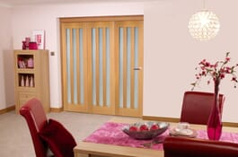 Oak Aston RoomFold Frosted Room Divider Doors Image