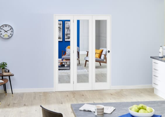 Slimline White Bifold 3 Door Roomfold (3 x 15
