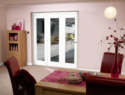 Glazed White P10 Roomfold - Clear Glass Image