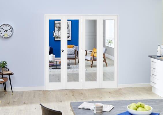 Slimline White Bifold 4 Door Roomfold (4 x 419mm Doors)