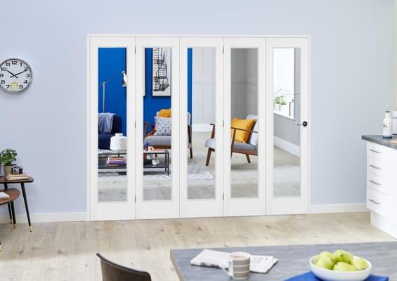 Slimline White Bifold 5 Door Roomfold (5 x 419mm Doors)
