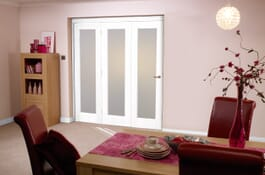 Glazed White P10 RoomFold Frosted Glass Doors Image