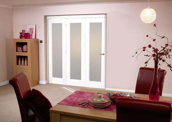 Frosted Glazed White 3 Door Roomfold (3 x 24