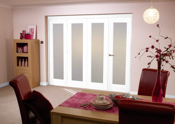 Frosted Glazed White 4 Door Roomfold (4 x 27
