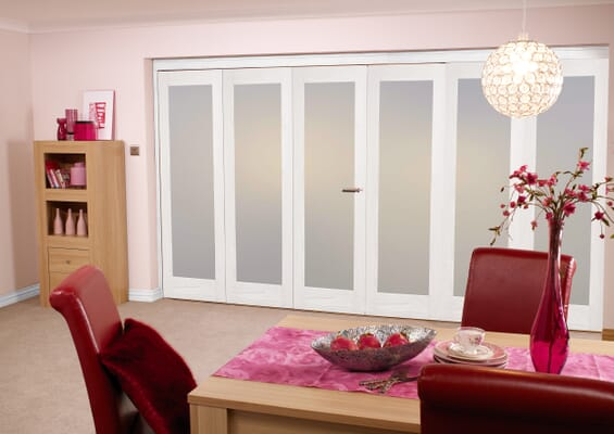 Frosted Glazed White 6 Door Roomfold (3+3 x 27