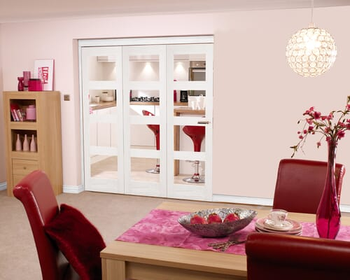 White 4l Shaker Roomfold - Clear Glass Internal Bifold Doors
