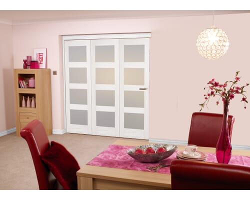 White 4l Shaker Roomfold - Frosted Internal Bifold Doors