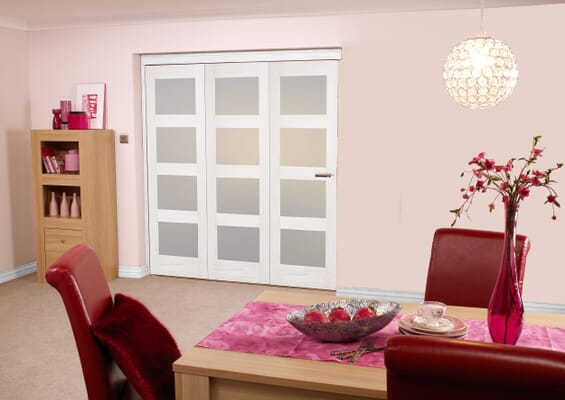 Frosted Glazed White 4L 3 Door Roomfold 1800mm Set
