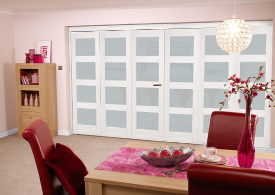 Frosted Glazed White 4L 6 Door Roomfold (3 + 3 x 2'3