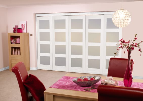 Frosted Glazed White 4L 5 Door Roomfold (5 x 2'0