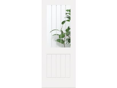 White Suffolk 1l - Clear Glass With Frosted Lines Internal Doors Image