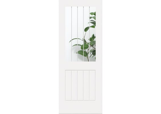 White Suffolk 1L - Clear Glass with Frosted Lines Internal Doors