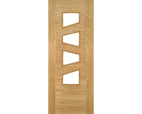 Seville Oak 4l Slanted Glazed - Prefinished Internal Doors