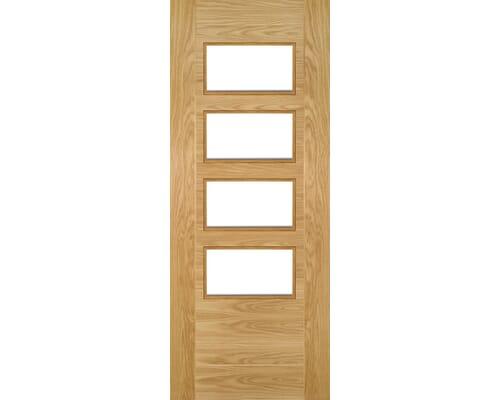 Seville Oak 4l Square Glazed - Prefinished Internal Doors