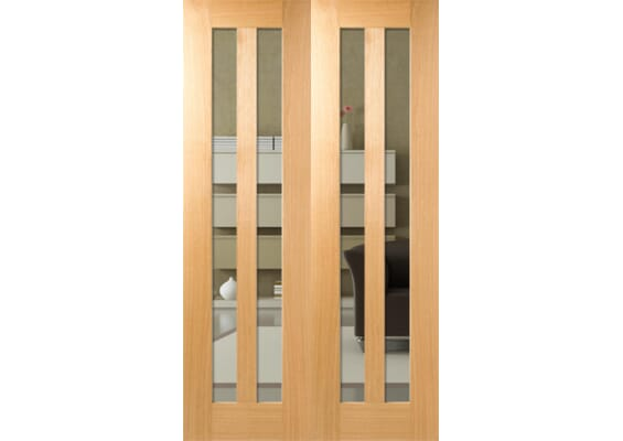 Aston Glazed Oak Rebated Pair Internal Doors