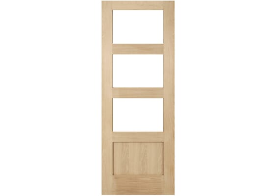Oak Shaker 3 Light - Clear Glass Internal Doors