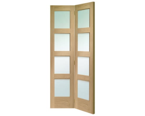Shaker 4 Light Oak Bi-fold - Clear Glass Internal Doors