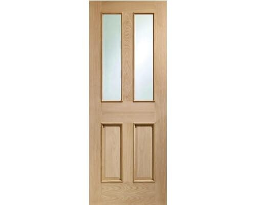 Malton Oak - Clear Bevelled Glass And Raised Mouldings Internal Doors