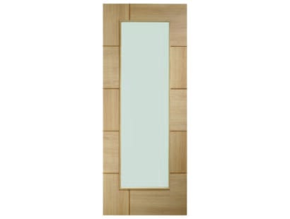 Messina Oak Glazed Door - Obscure Image