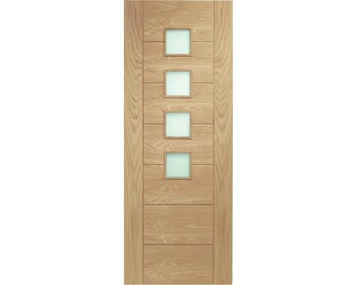 Palermo Oak - Obscure Glass Fire Door