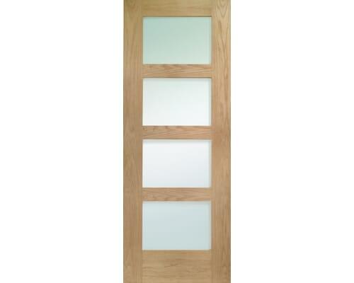 Shaker 4 Light Oak - Obscure Glass Fire Door
