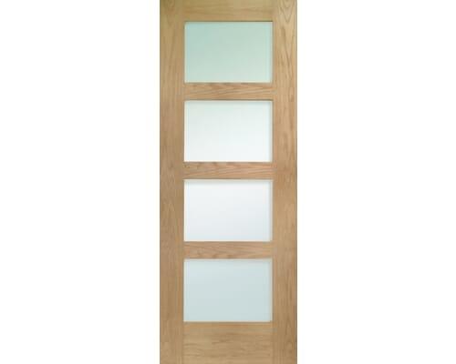 Shaker 4 Light Oak - Clear Glass Fire Door