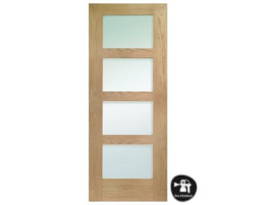 Shaker 4 Light Oak - Obscure Glass Internal Doors