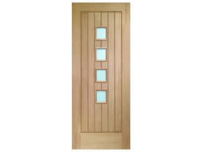 Suffolk Oak 4 Light Glazed Door - Obscure Image