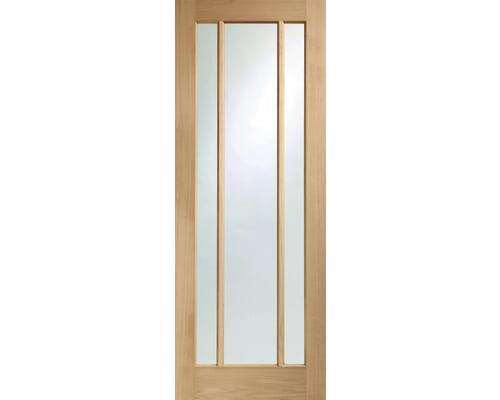 Worcester Oak 3 Light - Clear Glass Fire Door