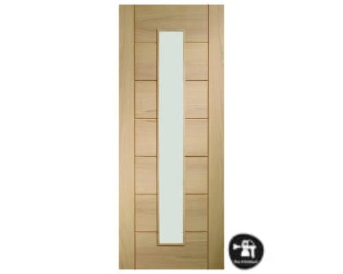 Palermo Oak 1 Light - Prefinished Clear Glass Internal Doors
