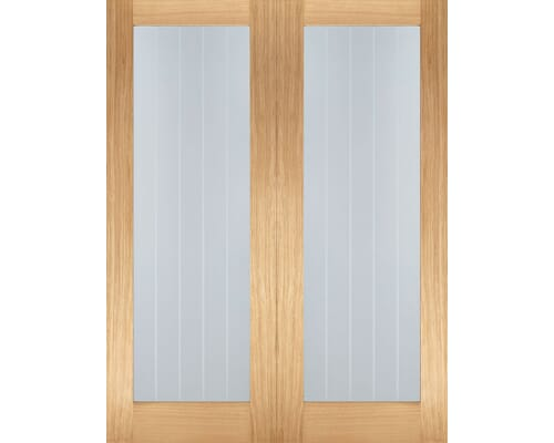Mexicano Oak Pair - Clear Glass Internal Doors