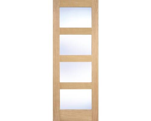Shaker 4 Light Clear Glazed White Internal Doors