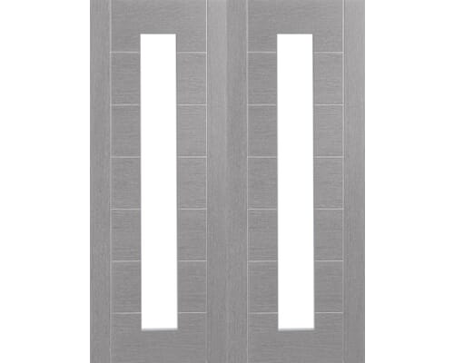 Palermo Light Grey Pair - Clear Glass Prefinished Internal Doors