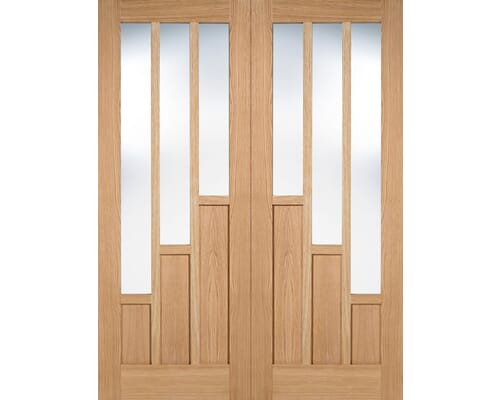 Coventry Oak Pair - Clear Glass Prefinished Internal Doors