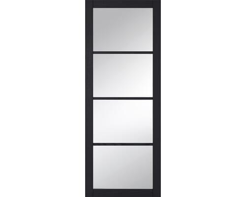Soho Charcoal Clear Glazed Grained Black Internal Doors