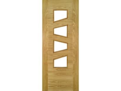 Seville Oak Doors 4l Clear Glass (slanted) - Prefinished  Image
