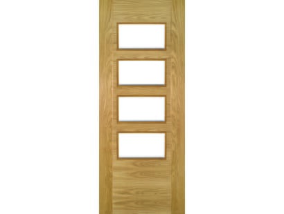 Seville Oak Doors 4l Clear Glass - Prefinished Image