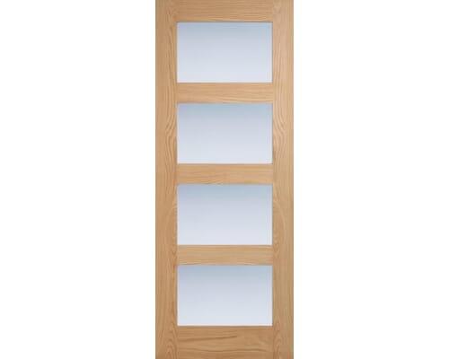 Oak Shaker 4l - Frosted Glass Internal Doors