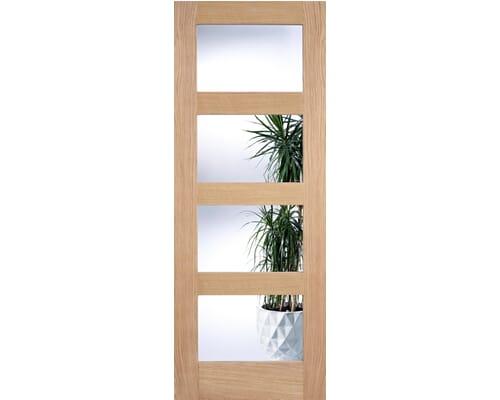 Oak Shaker 4l - Clear Glass Internal Doors