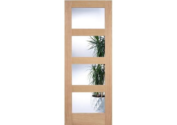 Oak Shaker 4 light - Prefinished Clear Glass Doors