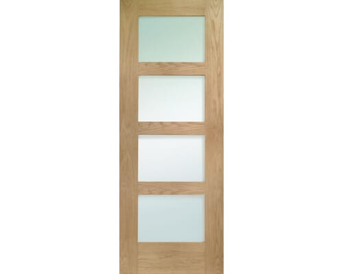 Oak Shaker 4 Light - Prefinished Obscure Glass Internal Doors