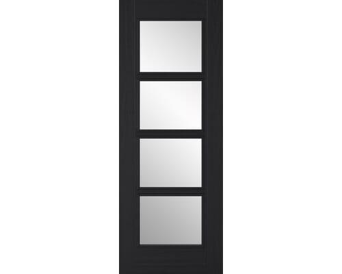 Black - Vancouver 4 Light - Clear Glass Prefinished Internal Doors