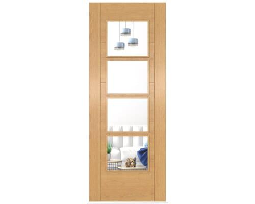Iseo Oak 4 Light Clear Glass - Prefinished Internal Doors