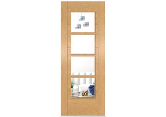 ISEO Oak 4 Light Clear Glass - Prefinished Doors